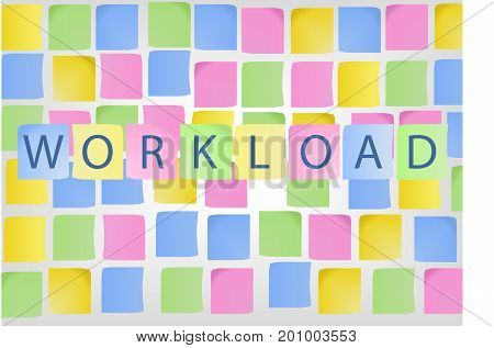 Concept of high workload symbolized by colorful notes