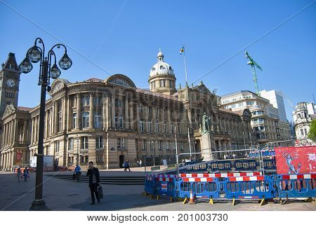 Birmingham, United Kingdom - May 12, 2016: Construction site at Victoria Square in Birmingham, United Kingdom with a view to City Council House