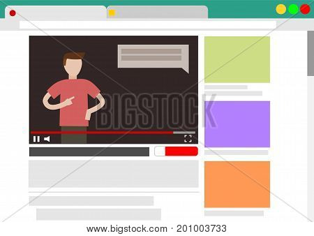Viewing video blog in browser window mock up