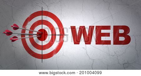 Success web design concept: arrows hitting the center of target, Red Web on wall background, 3D rendering