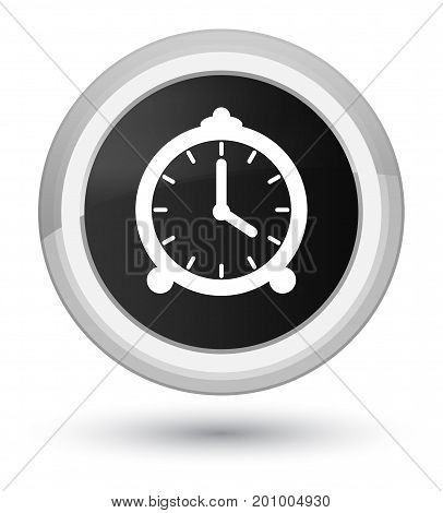 Alarm Clock Icon Prime Black Round Button