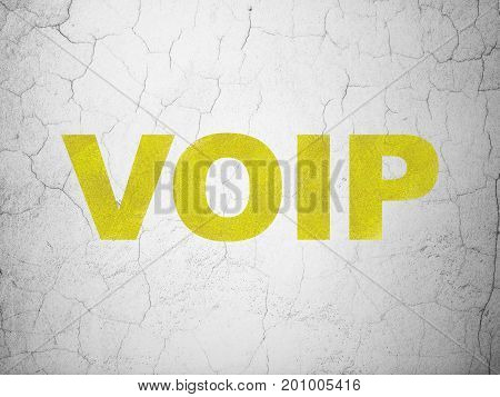 Web development concept: Yellow VOIP on textured concrete wall background