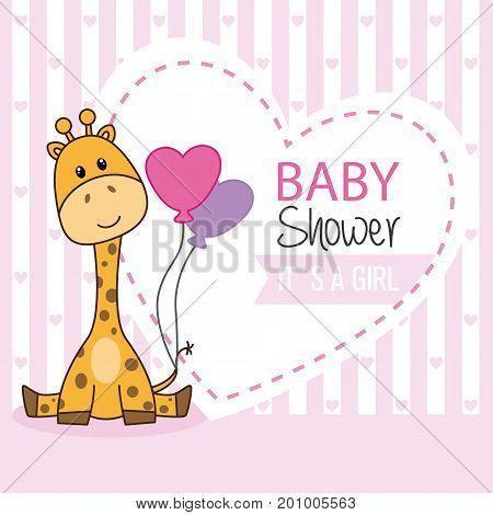 baby shower girl. Cute giraffe with balloons