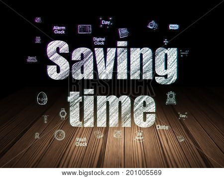 Time concept: Glowing text Saving Time,  Hand Drawing Time Icons in grunge dark room with Wooden Floor, black background