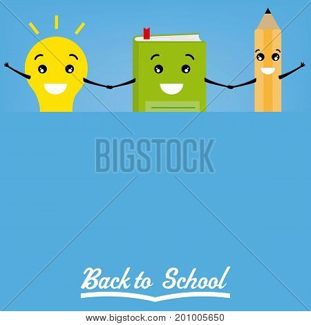back to school. Pencil, book and light bulb with a banner. Space for text