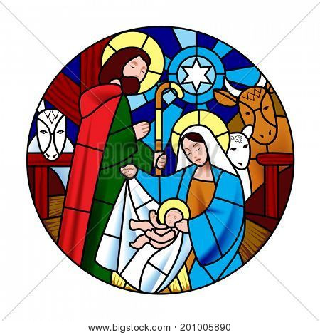 Circle shape with the birth of Jesus Christ scene in stained glass style. Christmas symbol and icon
