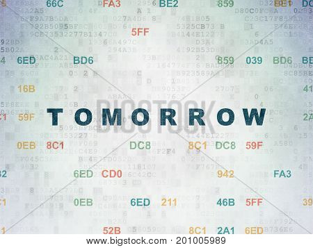 Time concept: Painted blue text Tomorrow on Digital Data Paper background with Hexadecimal Code