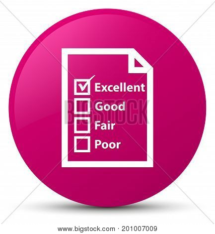 Questionnaire Icon Pink Round Button