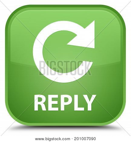 Reply (rotate Arrow Icon) Special Soft Green Square Button