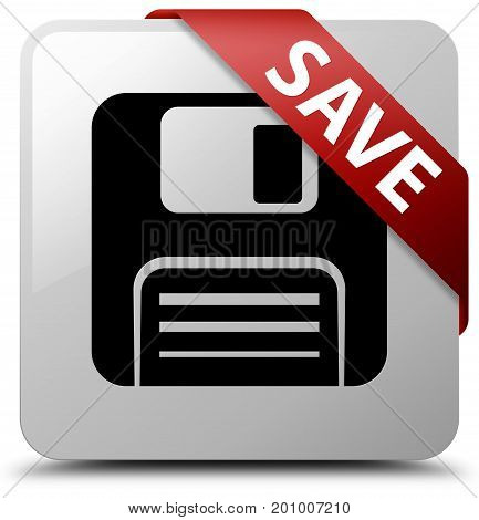 Save (floppy Disk Icon) White Square Button Red Ribbon In Corner