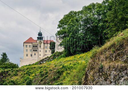 Beautiful historic castle. Castle in Pieskowa Skala in Poland.