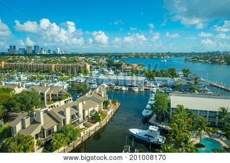 FORT LAUDERDALE, USA - JULY 11, 2017: Aerial view of new river with riverwalk promenade highrise condominium buildings and yachts in Fort Lauderdale.