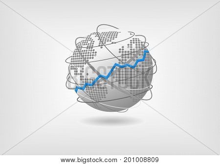 Global economic growth concept as vector illustration