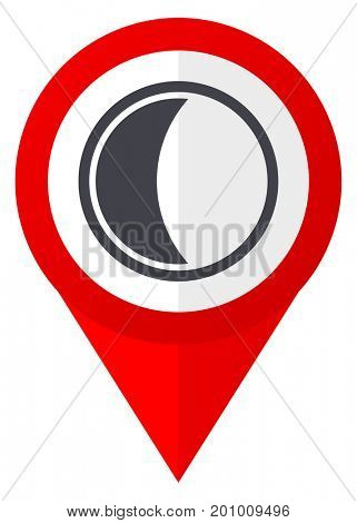 Moon red web pointer icon. Webdesign button on white background.