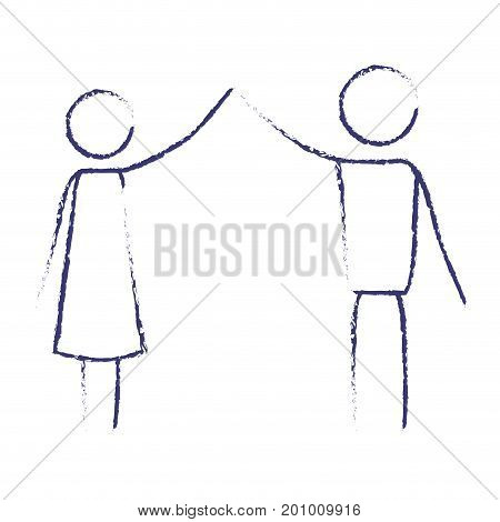 blurred blue contour of pictogram couple clashing hands vector illustration