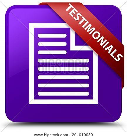 Testimonials (page Icon) Purple Square Button Red Ribbon In Corner