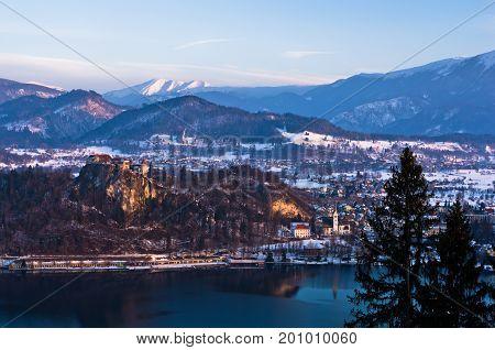 Lake Bled with its surrounding alpen environment, slovenian Alps, Slovenia