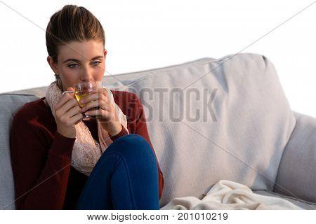 Ypung woman having lemon tea while sitting on sofa at home