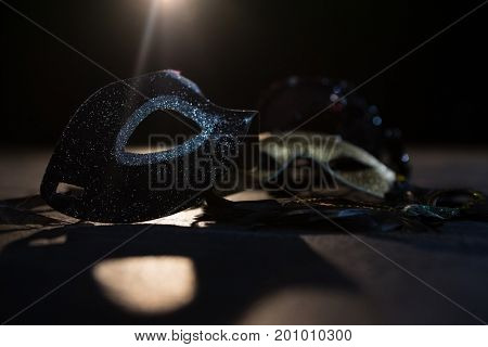 Close-up of masquerade masks on stage