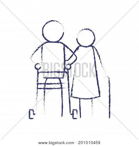 blurred blue contour of pictogram elderly couple with man in assistence walker and woman with stick vector illustration