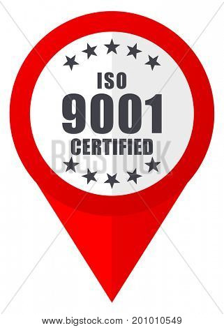 Iso 9001 red web pointer icon. Webdesign button on white background.