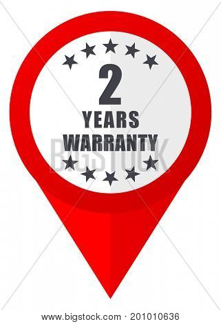 Warranty guarantee 2 year red web pointer icon. Webdesign button on white background.