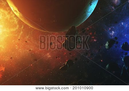 A Beautiful Colorful Space With Asteroids With Sounds And A Planet 3D Illustration