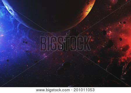 Colorful Outer Space With Asteroids And Planet 3D Illustration