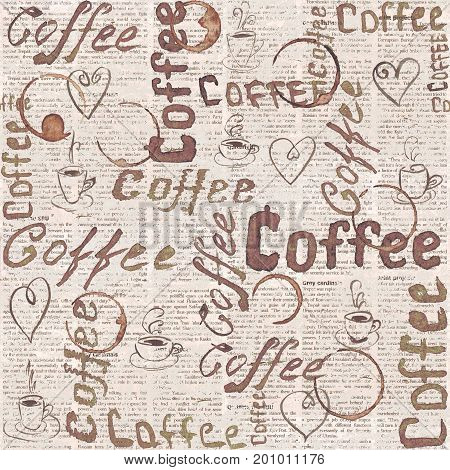 Sketch old newspaper coffee background with lettering hearts coffee cups and cups traces. Seamless pattern