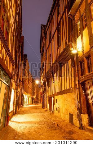 Old timberframe houses on Rue Damiette in historic part of Rouen, France