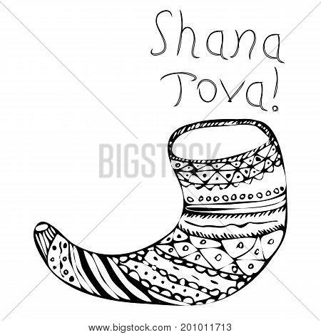 Black shofar on Rosh Hashanah. The Jewish New Year. Shana Tova. Hebrew. Doodle. Hand draw. Vector illustration on isolated background.