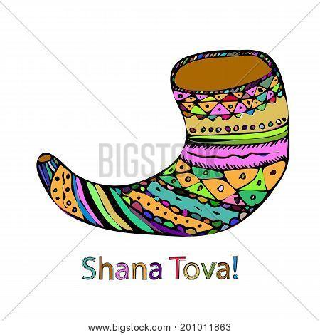 Multicolored shofar on Rosh Hashanah. The Jewish New Year. Shana Tova. Hebrew. Doodle. Hand draw. Vector illustration on isolated background.