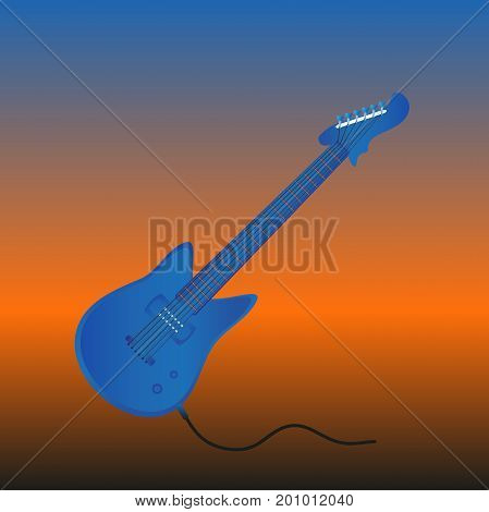 Cool electric guitar in blue color . On a dynamic background . Vector illustration