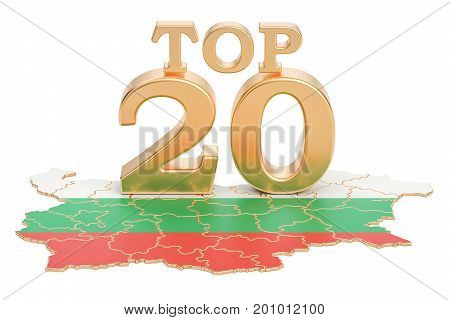 Bulgarian Top 20 concept 3D rendering isolated on white background