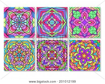 Indian floral paisley medallion banners. Ethnic Mandala ornament. Vector Henna tattoo style. Can be used for textile, greeting card, coloring book, phone case print.