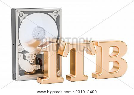 Hard Disk Drive (HDD) 1 TB. 3D rendering isolated on white background