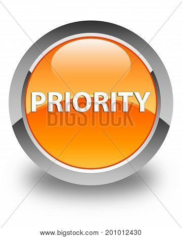 Priority Glossy Orange Round Button