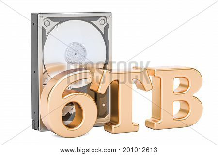 Hard Disk Drive (HDD) 6 TB. 3D rendering isolated on white background