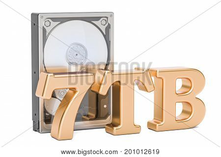 Hard Disk Drive (HDD) 7 TB. 3D rendering isolated on white background