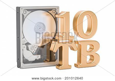 Hard Disk Drive (HDD) 10 TB. 3D rendering isolated on white background