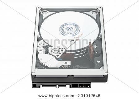 Hard Disk Drive (HDD) closeup 3D rendering isolated on white background