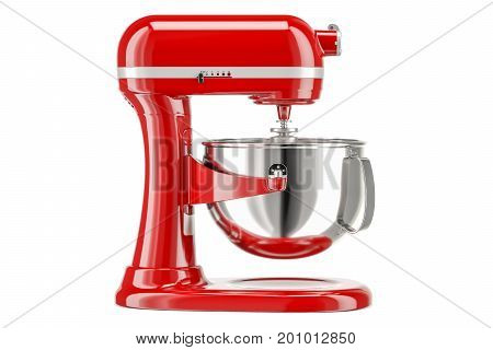 Red stand kitchen mixer side view. 3D rendering isolated on white background