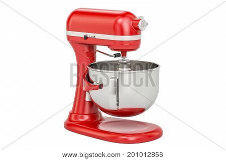 Red stand kitchen mixer 3D rendering isolated on white background