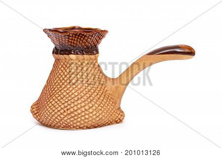 Ceramic cezve or Turkish coffee pot, Coffee maker or Ceramic turk Isolated on white background.