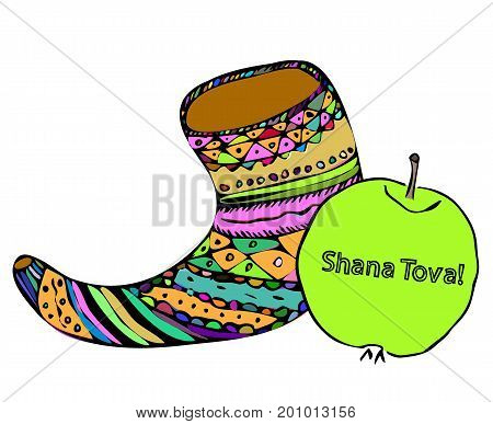 Multicolored shofar and an apple on Rosh Hashanah. The Jewish New Year. Shana Tova. Hebrew. Doodle. Hand draw. Vector illustration on isolated background.