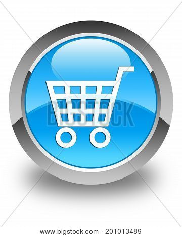 Ecommerce Icon Glossy Cyan Blue Round Button