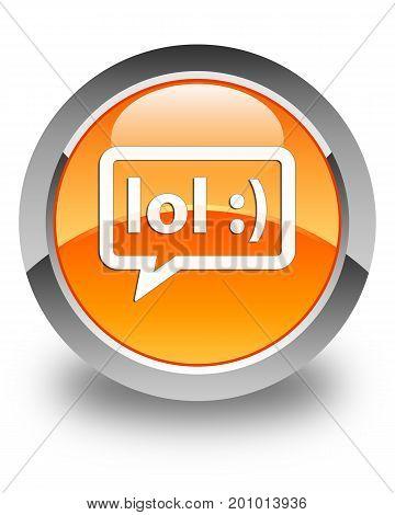 Lol Bubble Icon Glossy Orange Round Button