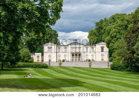 STOCKHOLM - JULY 5, 2017: Rosendal palace in Stockholm. Rosendal palace located in the recreational area of Djurgarden is one of 11 Royal palaces in Sweden.