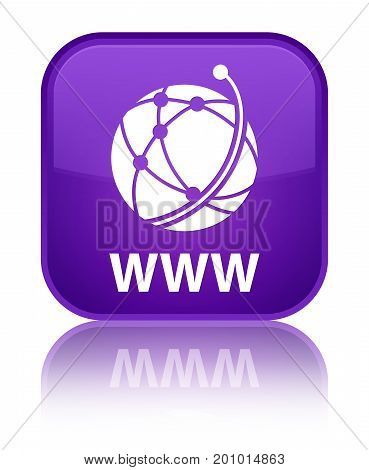 Www (global Network Icon) Special Purple Square Button