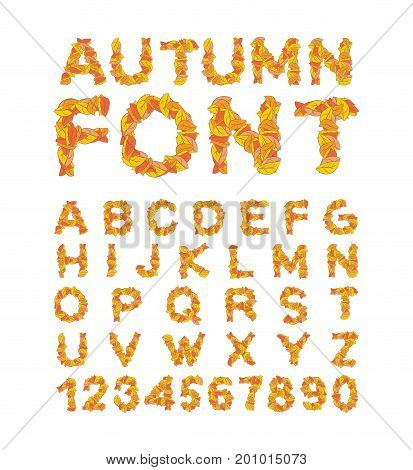 Autumn font. Yellow leaves of alphabet. autumnal ABC. Letters of fallen leaves